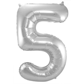 Folieballon cijfer 5 Zilver 86cm