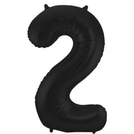 Folieballon cijfer 2 zwart 86cm