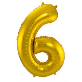 Folieballon cijfer 6 goud 86cm