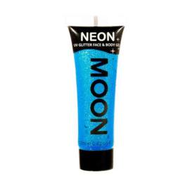 Neon UV glitter face & body gel blue