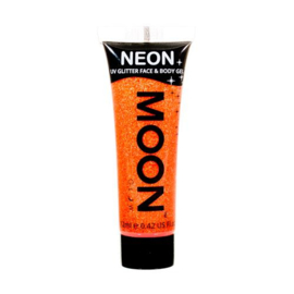 Neon UV glitter face & body gel orange