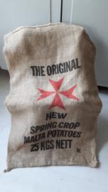 Oude aardappelzak van jute
