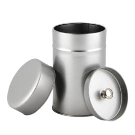 Theeblikje zilverkleurig rond met extra binnen deksel