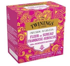 Twinings Thee Ayurveda Vlierbloesem Framboos Hibiscus
