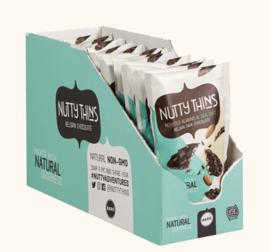 BARÚ 12 x 50 gram Nutty Thins Dark Chocolate Roasted Almond & Sea Salt