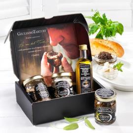 Giuliano Tartufi Porcini, parmesan saus, witte truffel en truffelsaus in cadeaupakket