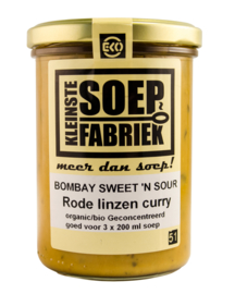 Bombay sweet 'n sour  soep (Rode linzen curry)