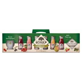 Schulp Cadeau verpakking met 6 flesjes en 1 glas