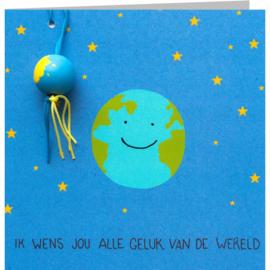 Kaart + Enveloppe: Ik Wens jouw alle Geluk van de Wereld