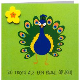 Kaart + Enveloppe: Zo Trots als een Pauw! Op Jou!