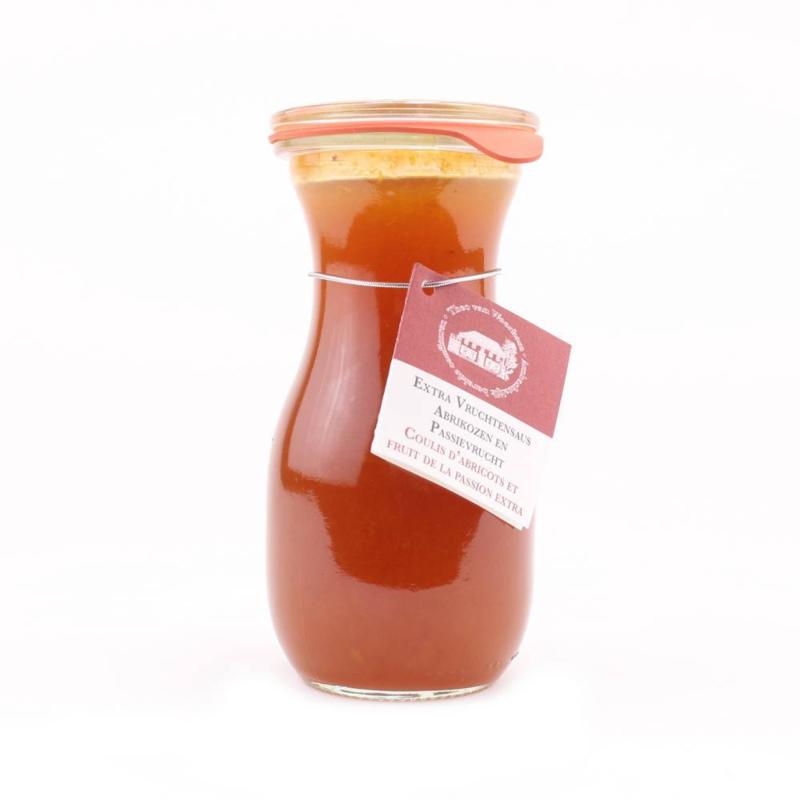 Vruchtensaus (Coulis) abrikoos passievrucht 280 ml.
