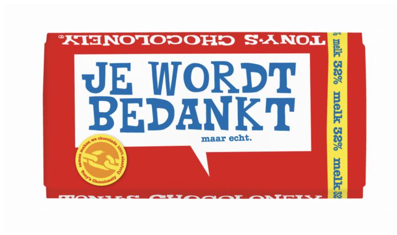 Tony's Chocolonely Melk met Je Wordt Bedankt label