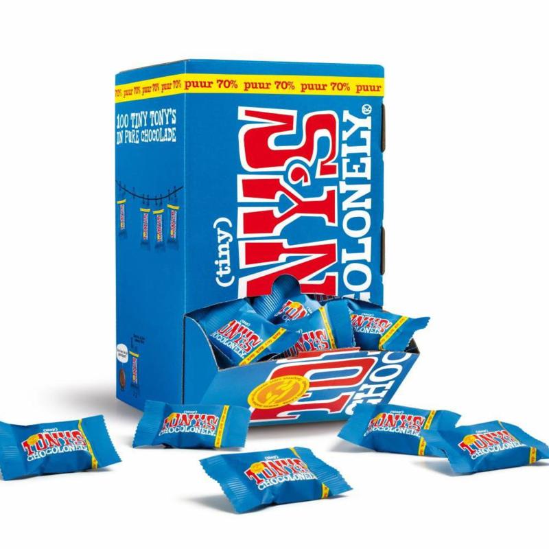 Tony's Chocolonely Doos vol Mini's puur 100 stuks