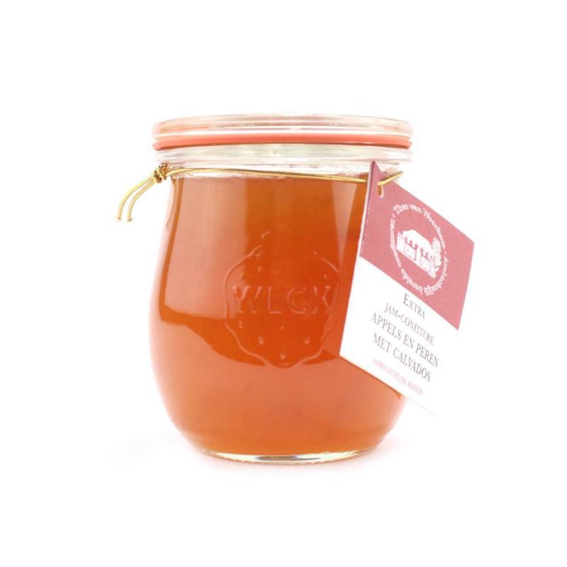 Alcoholhoudende confiture 4% appel & peer met calvados  250 gr.