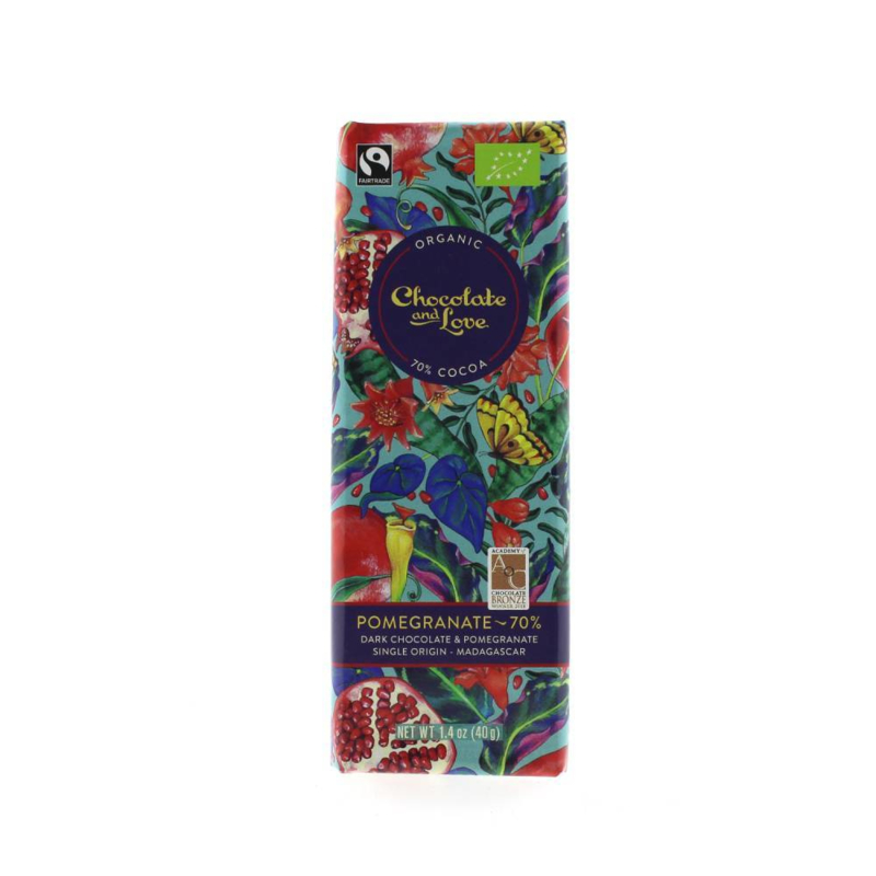 BIO Chocolate and Love Pomegranate Dark 70% 40 gram