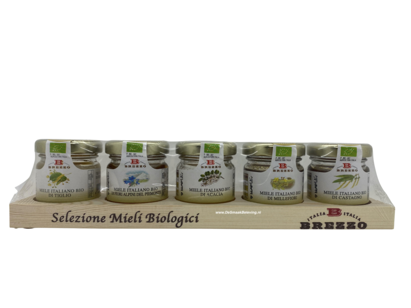 Brezzo Houten plankje met 5 Honing Soorten
