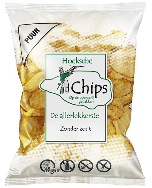 Hoeksche Chips Zoutloos DOOS 10 zakken