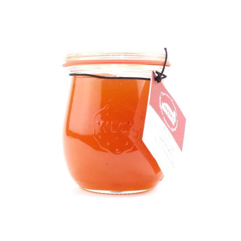 Alcoholhoudende confiture 4% abrikozen met amaretto  250 gr.