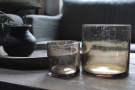 Windlicht bruin bubbels 10x10 cm
