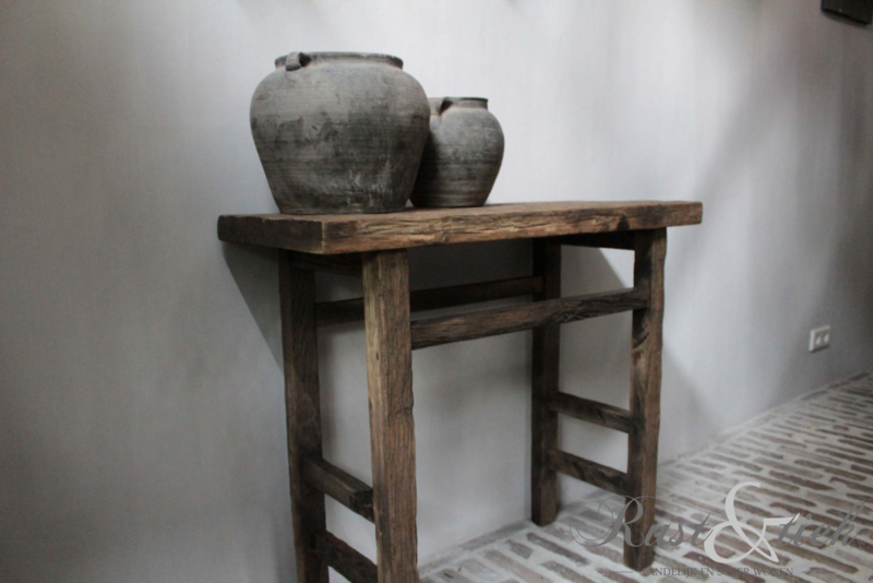 Side Table Oud Eiken.Sidetable Eiken Wagondelen Sidetables Etc Rust Tiek