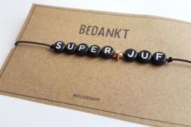 Armband Juf - Zwart