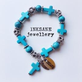 Kruis Armband - Turquoise