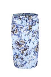Rok Floral - Lichtblauw/Wit/Bruin