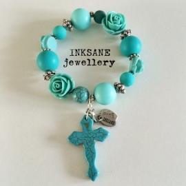 Ibiza Look Armband met Kruis - Turquoise/Zilverkleur