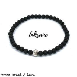 Natuursteen Armband Lava / Zwart