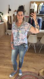 T-shirt Camouflage - Roze/Zachtblauw/Grijs