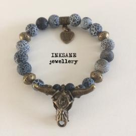 Stierenkop Armband - Blauw/Bronskleur