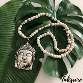Houten Kralen Ketting Boeddha - Creme/Zilverkleur