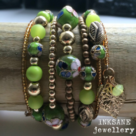 Wikkel Armband - Groen/Goudkleur