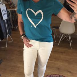 T-shirt Hart - Creme/Turquoise