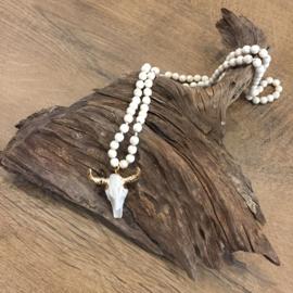 Stierenkop Ketting - Gouden Hoorns - Wit