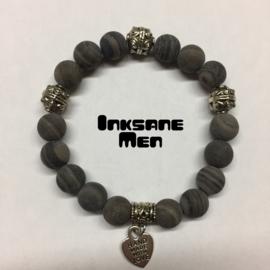Mannen Armband Natuursteen - 10mm Malachiet/Zilverkleur/Grijs