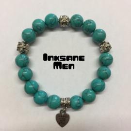 Mannen Armband Natuursteen - 12mm Howlite/Zilverkleur/Turquoise