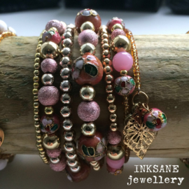 Wikkel Armband - Roze/Goudkleur
