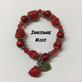 Kinder Armband Doodshoofd - Rood