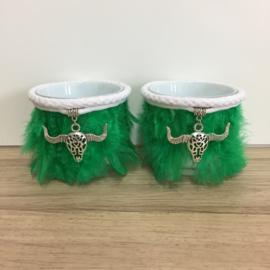 Boho Lights - Waxinekaarshouders Veren met Stierenkop - Groen/Zilverkleur