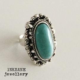 Ring - Turquoise/Zilverkleur