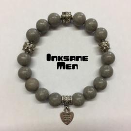 Mannen Armband Keramiek Turquoise  - 12mm Zilverkleur/Grijs