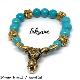 Stierenkop Armband - Turquoise/Goudkleur