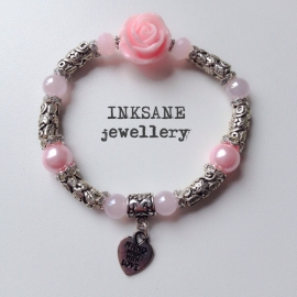 Roos/Metaal Armband - Roze (Licht)