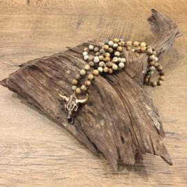 Stierenkop Ketting - Gouden Hoorns - Bruin gemeleerd
