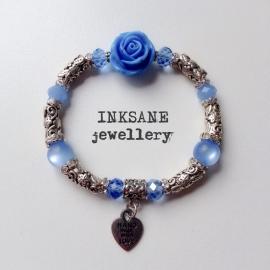 Roos/Metaal Armband - Blauw (Licht)