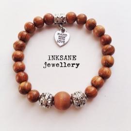 Mannen en/of Vrouwen kralen Armband - Bruin (Licht) Hout
