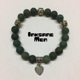 Mannen Armband Natuursteen - 10mm Mos Agaat Mat/Zilverkleur/Groen