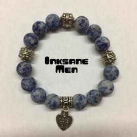Mannen Armband Natuursteen  - 10mm Sodaliet Mat/Zilverkleur/Blauw