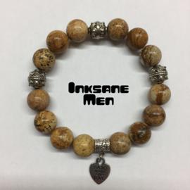 Mannen Armband Natuursteen - 12mm Landschap Jaspis/Zilverkleur/Beige